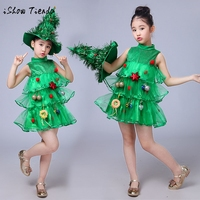 Toddler Kids Baby Girls Christmas Tree Cosplay Costume Sleeveless Dress Tops Ornament Party Vest Hat Outfit