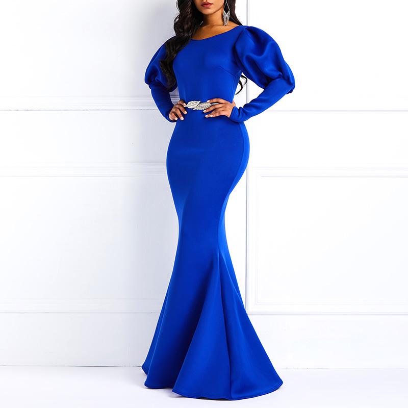 df071dfbd9fc0 Clocolor Women Maxi Dresses Sexy Blue Party Mermaid Bodycon Lanter...