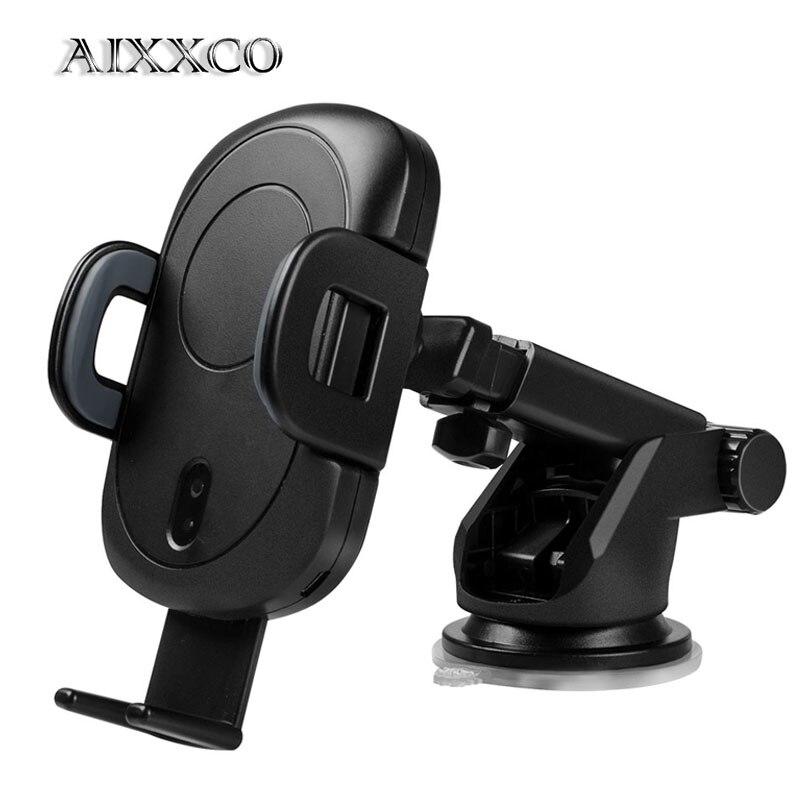 AIXXCO capteur infrarouge automatique support pour voiture rapide Qi sans fil chargeur rapide pour iPhone X 8 pour Samsung S9 évent montage chargement