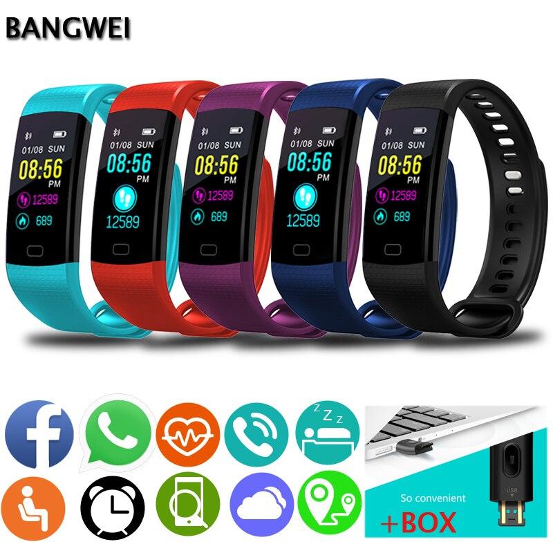 BANGWEI Men Women Smart Bracelet Waterproof ECG Real-time Dynamic Heart Rate Sport Fitness Wristband Support USB-charge Watch