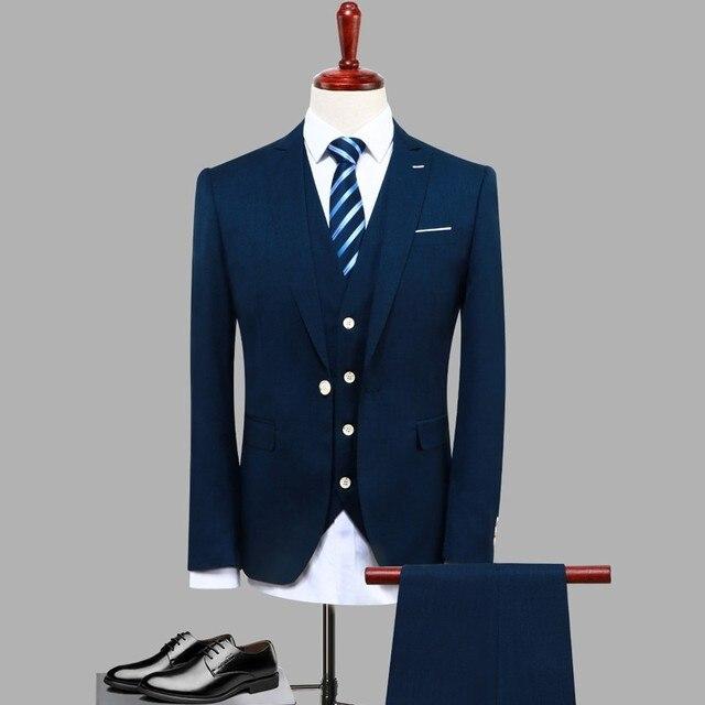 3 Unid azul marino hombres traje otoño nueva slim fit novio Trajes de  vestir hombres de 9c62de3031d