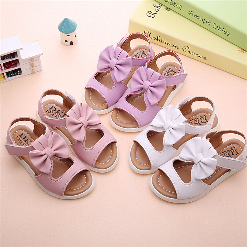 Girls Shoe Casual Summer Kids Children Sandals Fashion PU Bowknot Girls Flat Pricness Shoes For Party