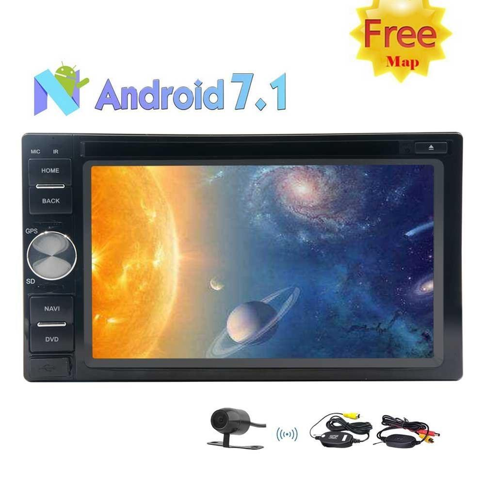 2GB 32GB OCTA Core Android 7.1 Car Stereo 2 Din 6.2'' In Dash Bluetooth Radio GPS DVD Player WIFI USD/SD+Wireless Backup Camera
