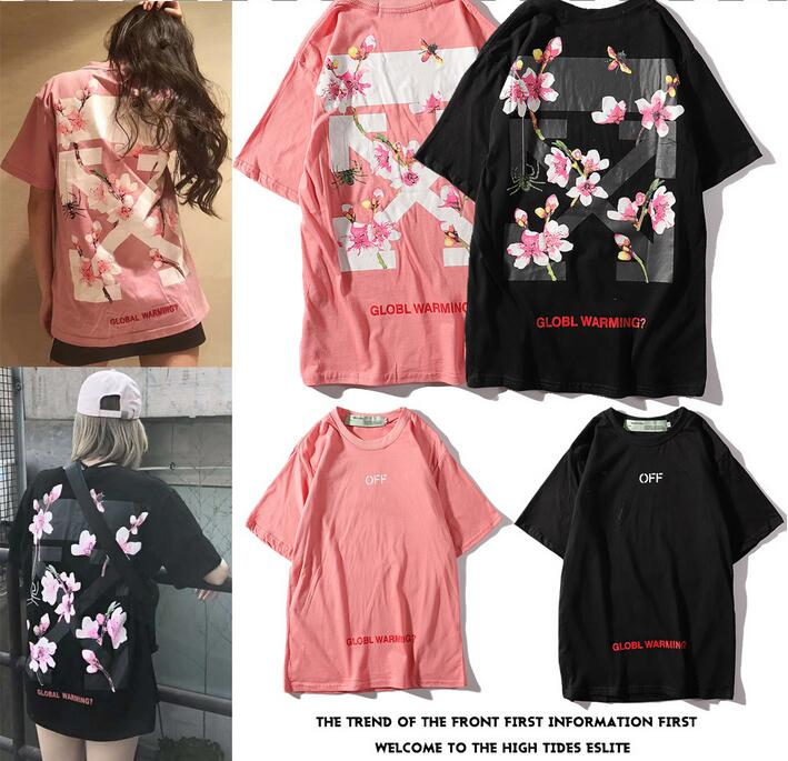 Novelty European American 19SS Off White OW Cherry blossoms Unisex Couple Lovers models Cotton Fashion Short Round neck T shirt