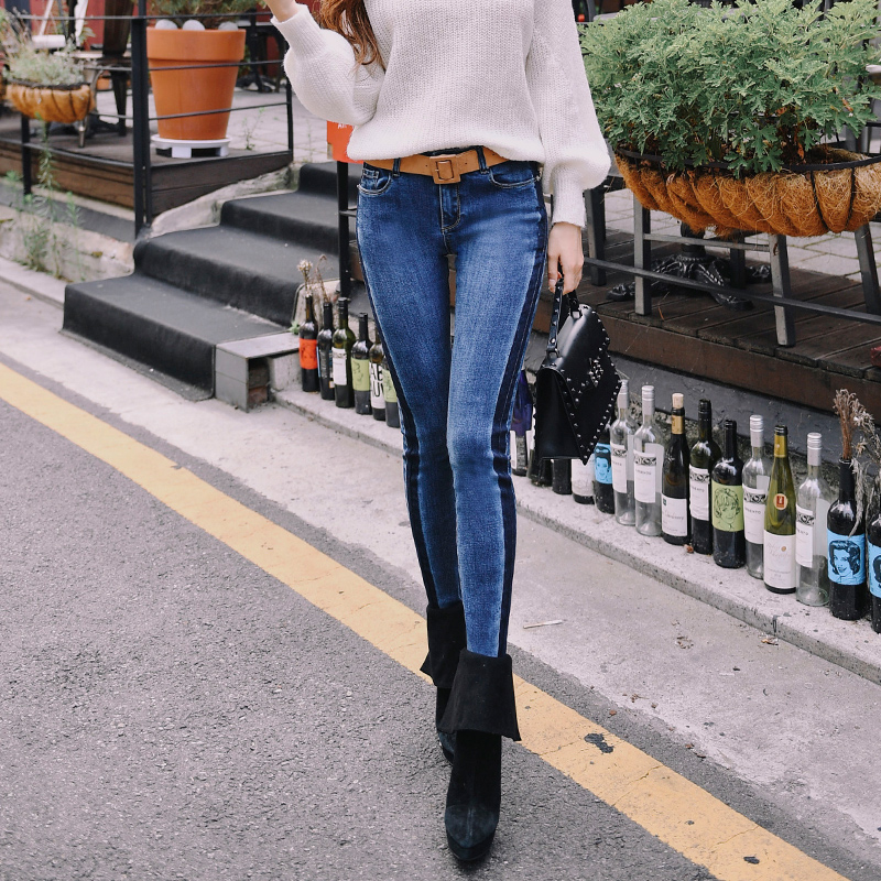 Dabuwawa Blue Women Vintage Winter   Jeans   High Street Denim   Jeans   Pencil Pants Skinny Ripped   Jeans   for Female Girl lady