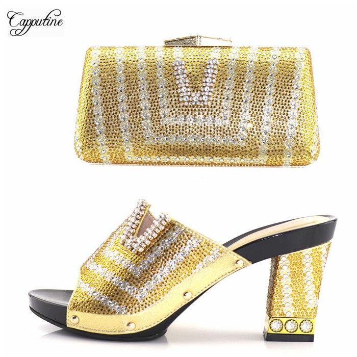 Высокий класс золота со стразами Высокий каблук Сандалии и вечерняя сумочка комплект для леди 227-1 Высота каблука 9,5 см