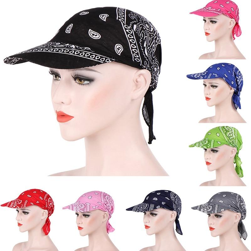 Packable Head Scarf Visor Hat With Wide Brim Sunhat Women Summer Beach Sun Hats UV Protection Female Printed Cap