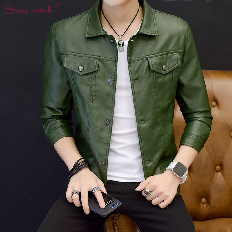 2018 Green Leather Jacket Man Black Blazer Jacket Moto Coat Casaco Chaquetas Jacket Uomo Overcoat jaqueta de couro Faux Leather-in Faux Leather Coats from Men's Clothing    1