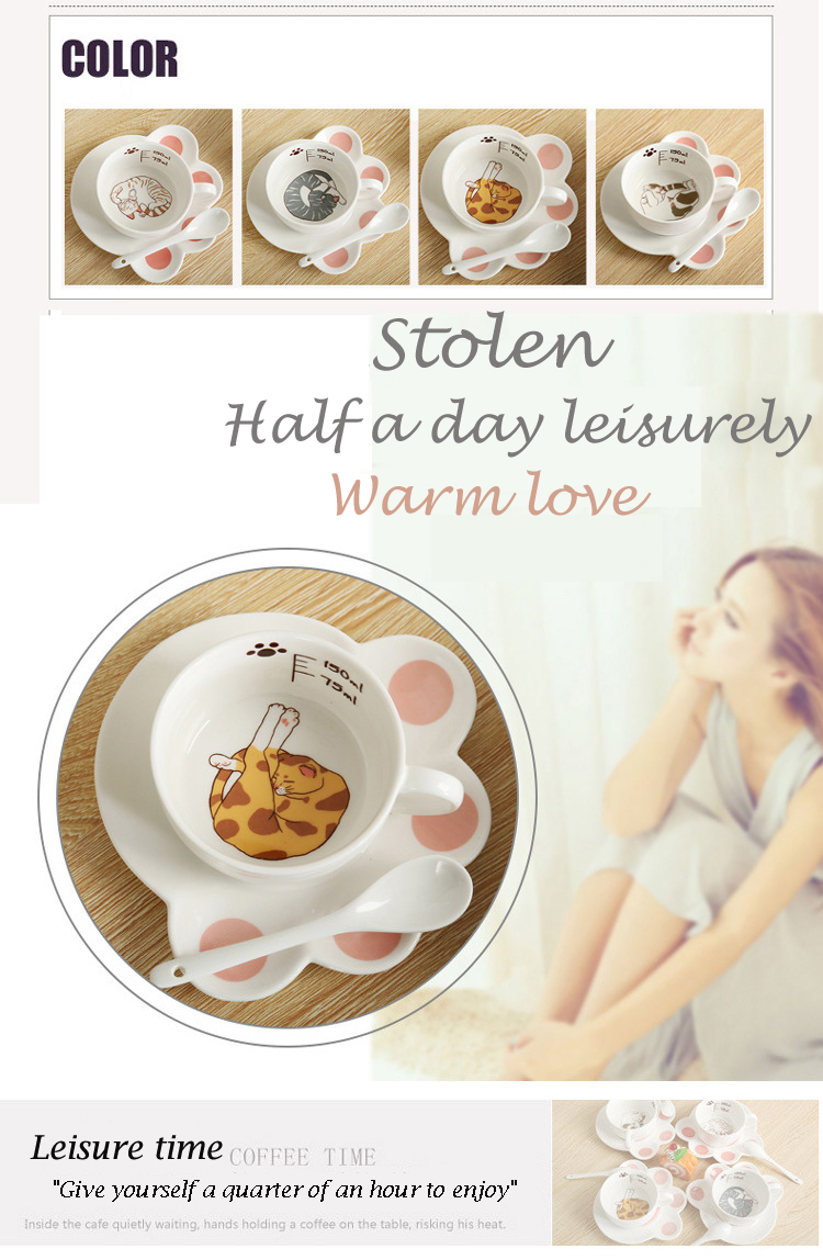 Cartoon Cute Cat Mug Cup Set Creative Milk Tea Drink Breakfast Ceramic Cups Plates Coffee Animal Cup Heat-resistant Lovely Gift (3)