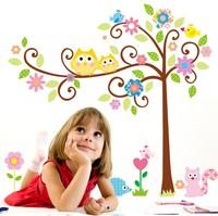 OWL Flowers Wall Decal Trees Wall Stickers MurauxBIRD Floral Wall Decor Bedroom Vinyl Decal Nursery Wall