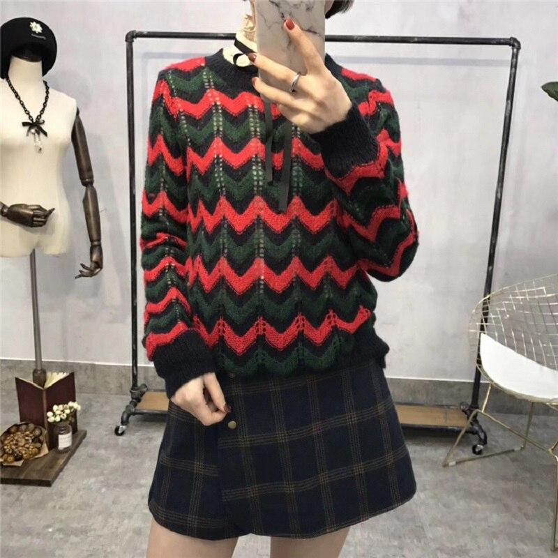 Chandails Tricot Femme Pulls Piste Vêtements Qualité Jumper En Vintage Évider Haute Femmes Designer Automne Chic Rayé Hiver tBaXw7aq