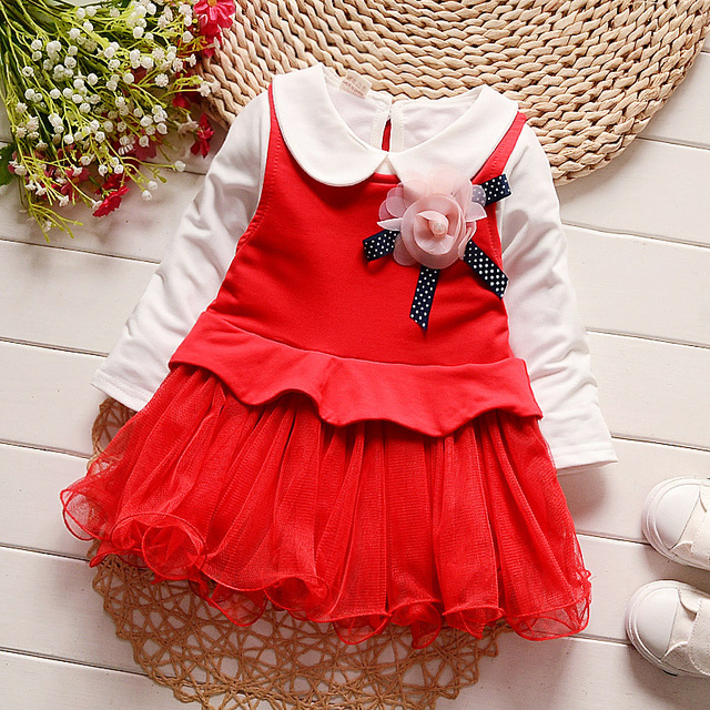 iAiRAY 1 year 2 years red flower girl party dress children clothing set celebrity dresses for girls white long sleeve t shirt
