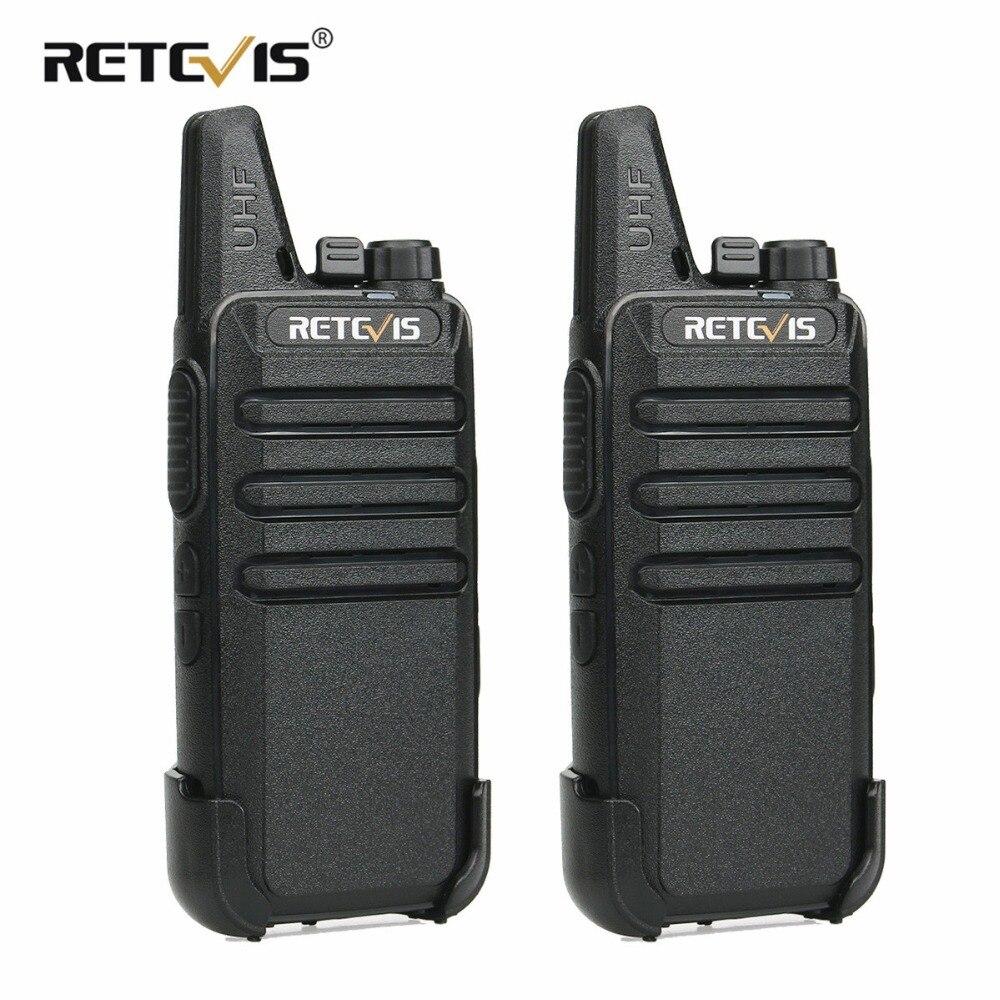 2 piezas Retevis RT22 Walkie Talkie Mini transceptor UHF 2 W VOX CTCSS/DCS de carga USB de dos vías práctico radio comunicador Woki Toki