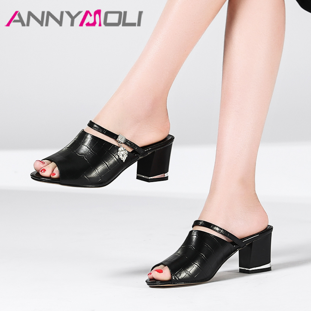 ANNYMOLI Summer Shoes Women Slippers Natural Genuine Leather Thick High Heels Shoes Crystal Peep Toe Slides