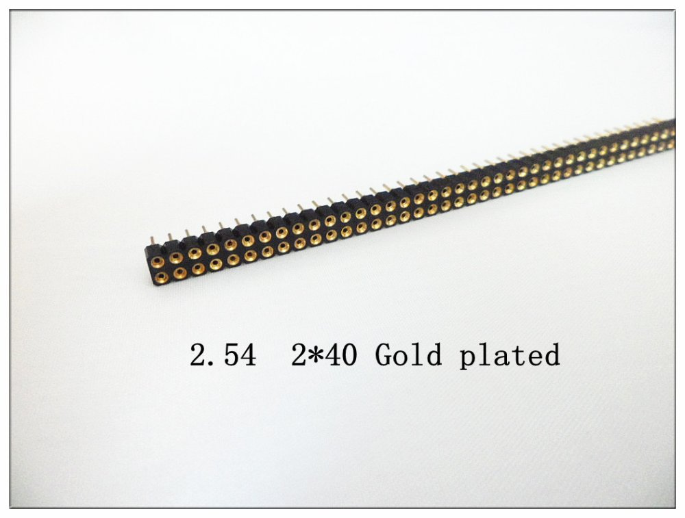 2.54mm pitch 2row 2*40 female round pin header socket connector gold plated - Eletronic Connector & Enclosure World store
