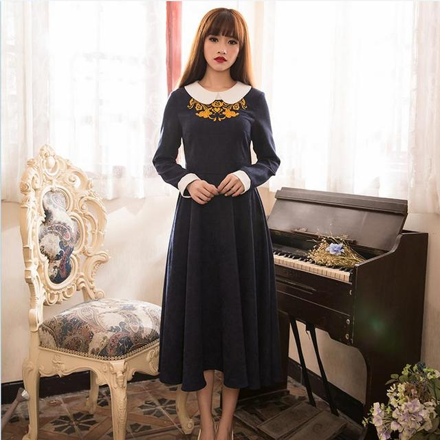 Adulto de alta calidad 2017 collar de la muñeca vestido de manga larga de la vendimia del bordado Kaftan Abaya Abaya Musulmán Turco Vestido de Dama W560