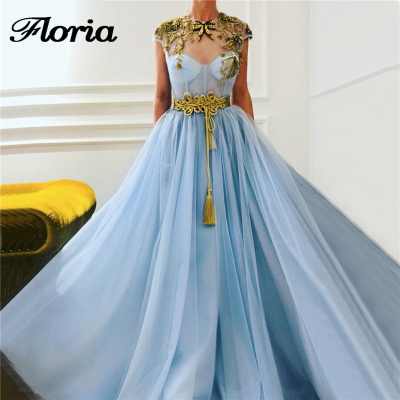Blue Appliques Saudi Arabic Tulle   Evening     Dress   With Sleeveless Belt Robe De Soiree Dubai Islamic Turkish Prom   Dress   2019 New