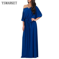 2017 Sexy Blue One shoudler Solid Club Plus Size 3xl 4xl Maixi Dress Pleated Party Summer Belt Lace Up Slim Long Dresses e3100