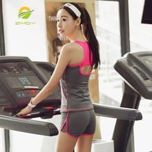 ZMDY Yoga Sets Women s tracksuit sportswear costumes for women leggins women fitness breathable female T