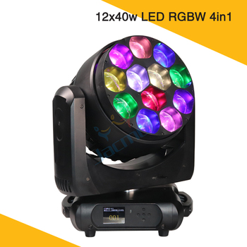 500W High Power Party Lighting 12x40w LED RGBW Zoom Wash LED Bee Eye Moving Head Stage Lights