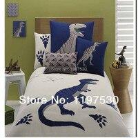 Бесплатная доставка Животные Вышитые динозавра плоский лист пододеяльник наволочки постельных принадлежностей домашний текстиль для бли