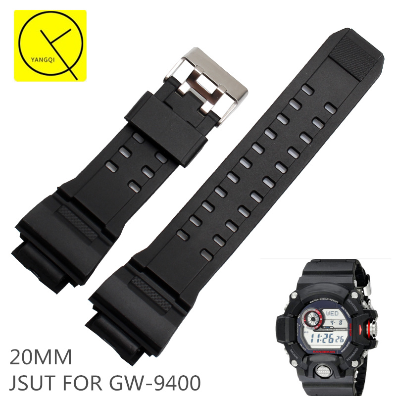 лучшая цена 20MM Sports Diving Silicone Rubber Watchband Strap for Casio G-shock GW-9400 Waterproof Accessories Man Metal Pin Clasp Fashion