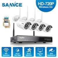 SANNCE RU HD 720P Wireless Home Security System HDMI 1080P NVR With 4pcs 720P Outdoor Weatherproof Wifi IP Camera CCCTV Set