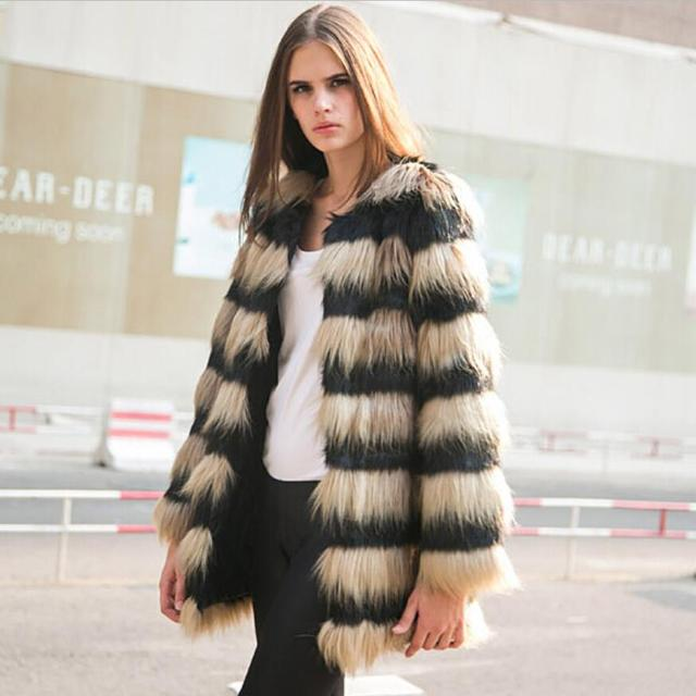 df93d86fb49ea New 2018 women winter faux fur coat Europe and America fashion stripe fox  fur jacket Warm mixed colors luxurious fur coats