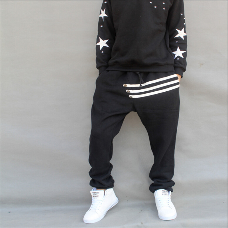 ФОТО Black Cotton Plus Size M-5XL Autumn Winter Mens Jeans China Hip Hop Harem Loose Denim Pants Feet For Boys