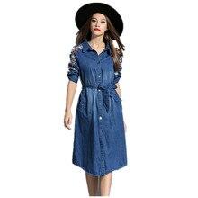 Summer Style Women Denim Dress Women Clothes Short Sleeve Embroidery Slim Jeans Dresses With Belt Vestidos de festa D74302J