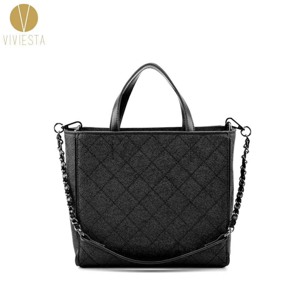 REAL GRAINED LEATHER QUILTED SHOPPING TOTE - 2018 Fall Fashion Women's Famous Brand Quilting Chain Shopper Shoulder Bag Handbag mini gray shaggy deer pvc quilted chain bag with cover real picture