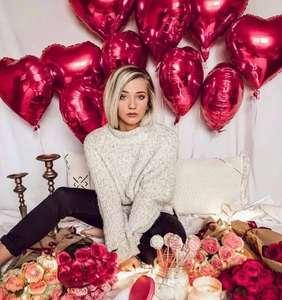 Image 2 - 15 шт./лот 18 дюймовый Золотой Серебряный Красный воздушный шар в форме сердца, чистый цвет, фольгированный Гелиевый шар для свадьбы, дня рождения, украшения для вечеринки