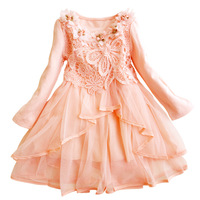 Toddler Little Baby Girls Casual Dress Sweet Lace Flower Long Sleeve Fall Winter Green Pink Age