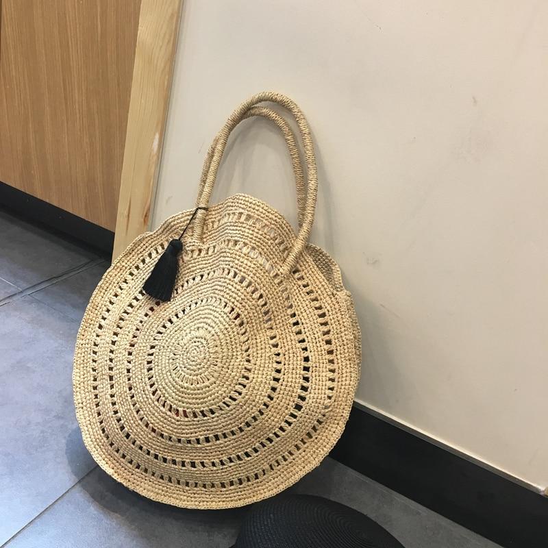 Tassel Round Straw Bag Totes Summer Travel Beach Bag Handmade Straw Shoulder Bag Simple Large Capacity Shopping Basket round straw bag
