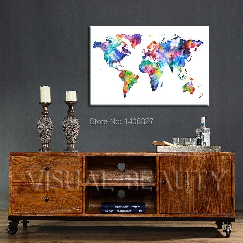 Livraison Gratuite Carte Du Monde Toile Art Mural Design Classique