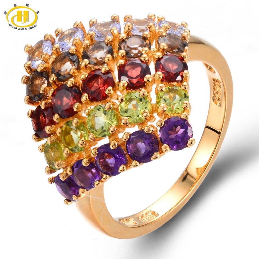 цена HUTANG Multi-color Gemstones Solid 925 Sterling Silver Ring Natural Tanzanite Garnet Amethyst Peridot Fine Jewelry Women's 2017 онлайн в 2017 году