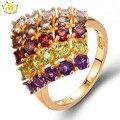 HUTANG Multi-color Gemstones Solid 925 Sterling Silver Ring Natural Tanzanite Garnet Amethyst Peridot Fine Jewelry Women's 2017