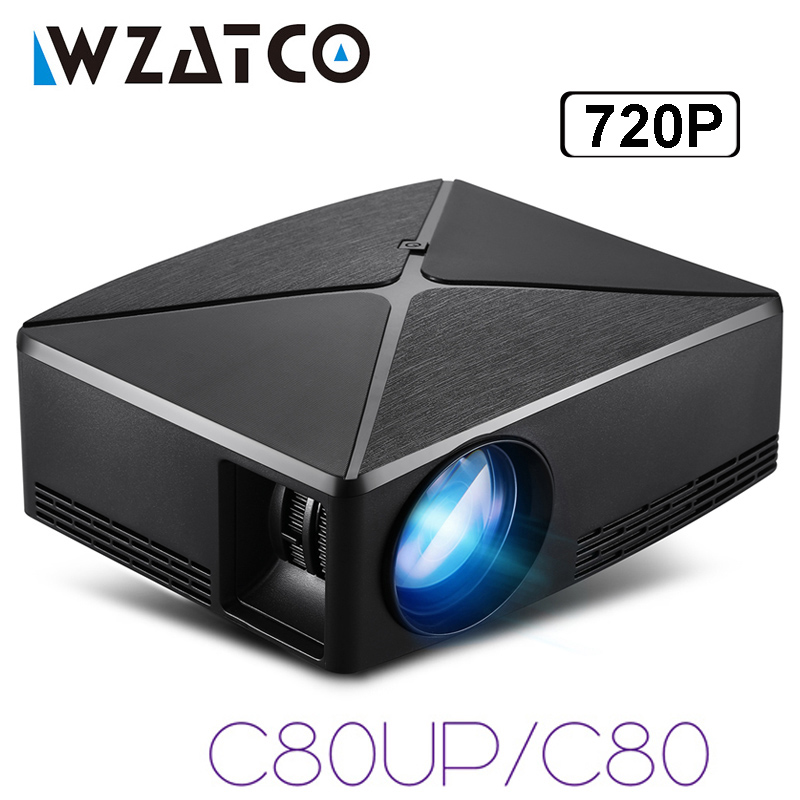 WZATCO 2200lm Android WIFI Portatile Pico mini HDMI HA CONDOTTO il Proiettore Tascabile Home Cinema Proyector Beamer supporto full HD 1080 p 4 K