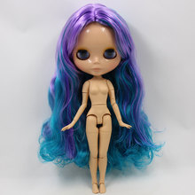 Factory Neo Blythe Doll Purple Cyan Hair Jointed Body 30cm