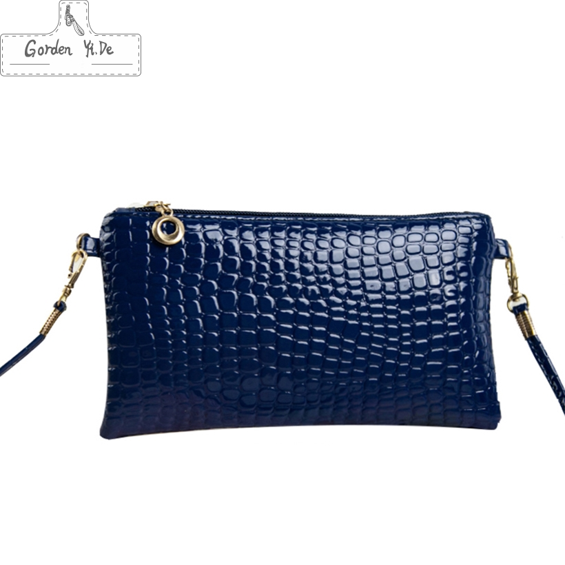 2017 Crocodile Pattern Women Messenger Bags Patent Leather Small Crossbody Shoulder Bags Women Evening Bag Casual Phone Bolsa