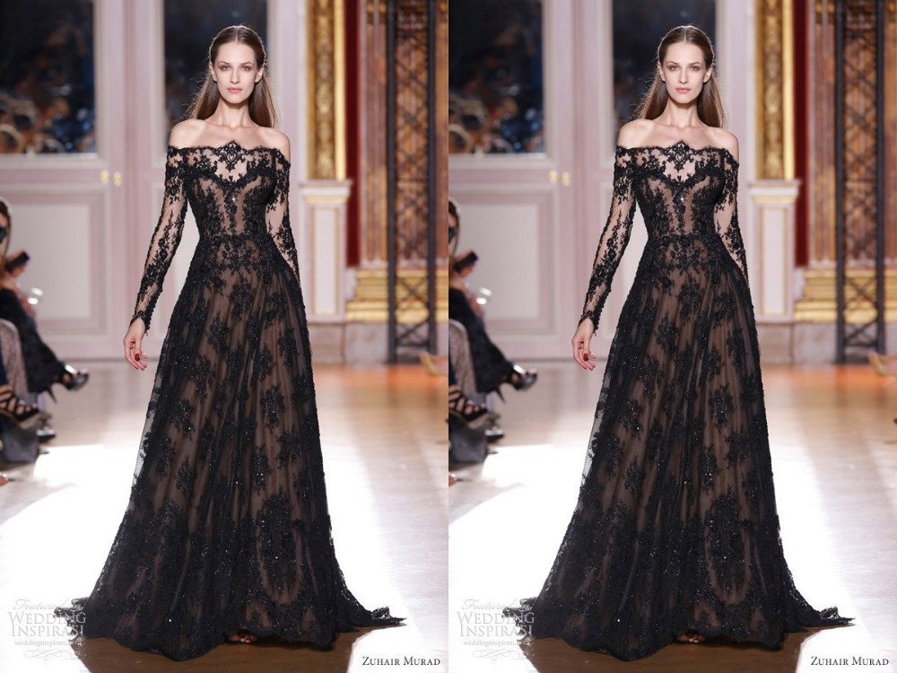 2014 Zuhair Murad Dresses Long Sleeves Off Shoulder Lace Black A ...