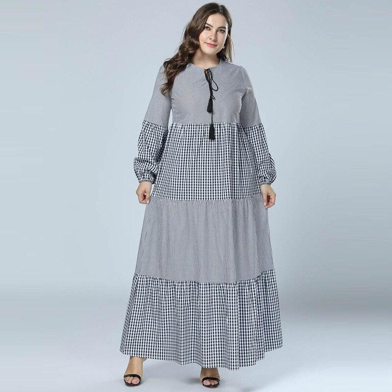 d9cc1bb754052 2018 Women Plaid Patchwork Maxi Dress Long Lantern Sleeve Casual Muslim  Abaya Kaftan islamic Dubai ...