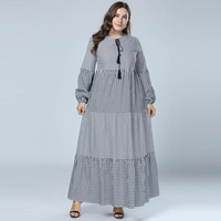 46b751d934 2018 Women Plaid Patchwork Maxi Dress Long Lantern Sleeve Casual Muslim Abaya  Kaftan Islamic Dubai Abayas