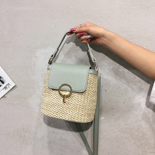 Fashion Bucket Bag Female 2019 PU Leather Lock Clasp Straw Ratten Bag Leisure Single Shoulder Crossbody Bag Women Handbags Bolsa leisure straw and sequins design shoulder bag for women
