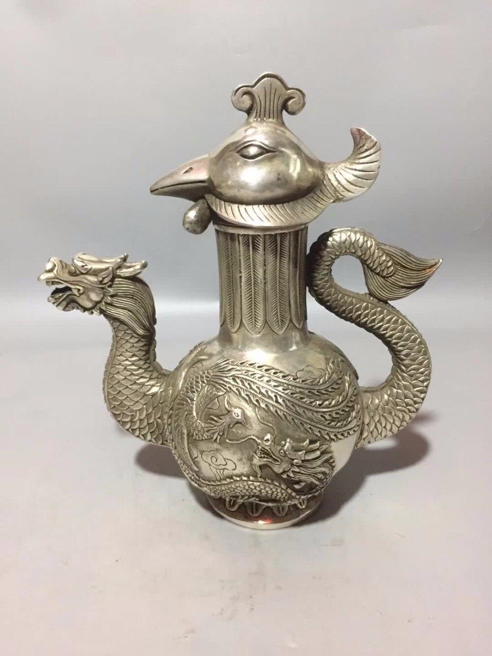 Home/desk Decoration Teapot Crafts,art Collection Tibet Silver Old Handmade Carving Dragon Phoenix Pot/chinese Antique Tea Pot Ornaments Bottles, Jars & Boxes