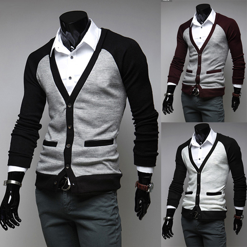 2014 Mode Die Taste Pullover Zusammenfügen Tasche Strickjacke Männer Britischen Stil Frühling Und Herbst Casual V-ausschnitt