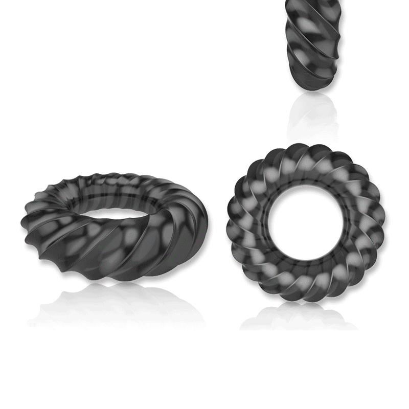 Black Silicone Male Delay Lock Elastic Ring Double Cock Ring Penis Soft Adult Sex Toy -8969