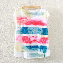 2017 summer style color of the lion fashion women short sleeve T shirt printing loose women