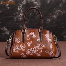 цены PNDME vintage fashion embossed genuine leather ladies handbag luxury designer flower female shoulder  messenger bags for women