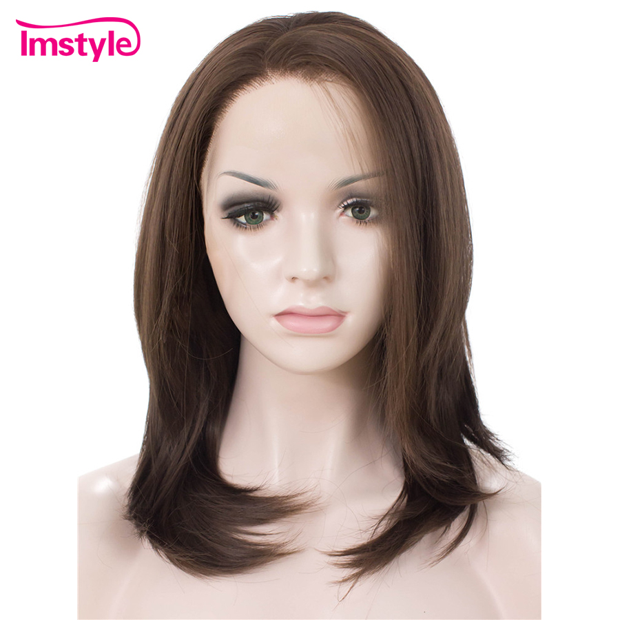 Imstyle Dark Brown Wig Short Bob Synthetic Lace Front Wigs For Women Heat Resistant Fiber Natural